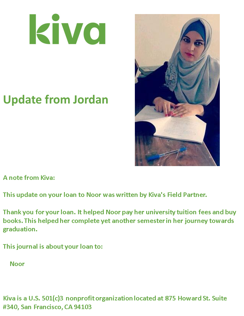 A note from Kiva: